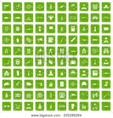 100 officer icons set in grunge style green color isolated on white background vector illustration