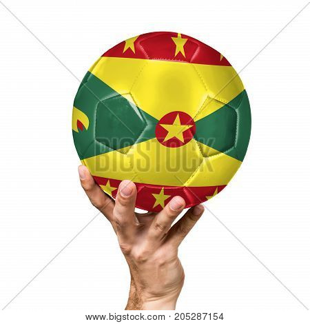 soccer ball with the image of the flag of Grenada, ball isolated on white background.