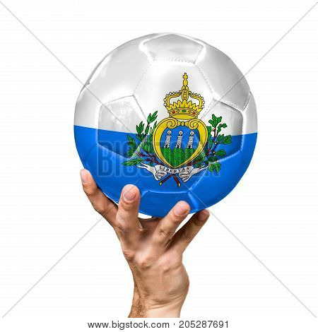 soccer ball with the image of the flag of San marino, ball isolated on white background.