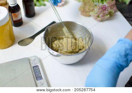 Natural Cosmetics Preparation. Tools For Preparing Of Organic Cosmatics. Moroccan Baldi Soap Prepair