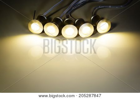 LED down light, lighting background on the table