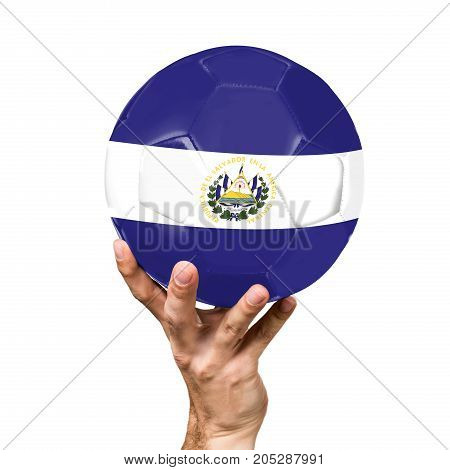 soccer ball with the image of the flag of El Salvador, ball isolated on white background.