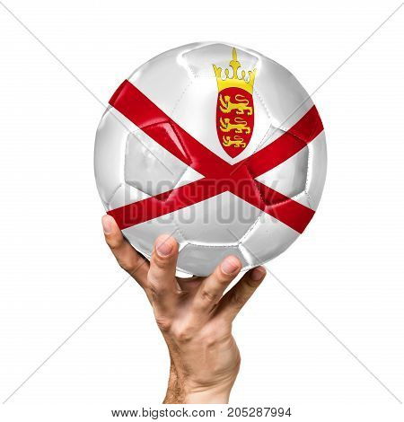 soccer ball with the image of the flag of Jersey, ball isolated on white background.