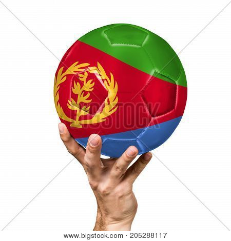 soccer ball with the image of the flag of Eritrea, ball isolated on white background.