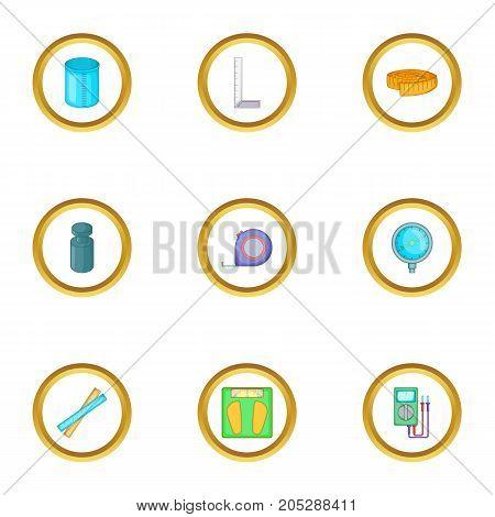 Measure instrumentation icons set. Cartoon style set of 9 measure instrumentation vector icons for web design