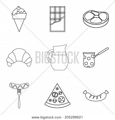 Snack with coffee icons set. Outline set of 9 snack with coffee vector icons for web isolated on white background