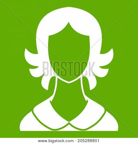Woman icon white isolated on green background. Vector illustration