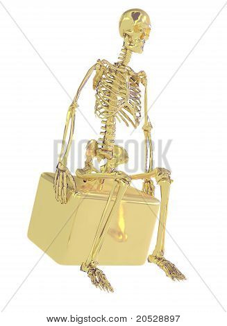 Gold Skeleton Isolated