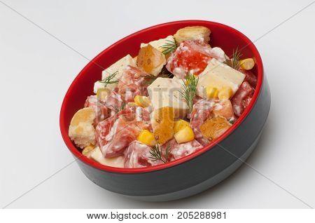 Salad In A Deep Black Cup