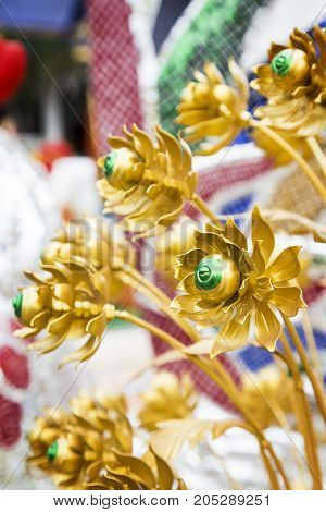 Lotus flower (aluminium flower) at Thailand temple