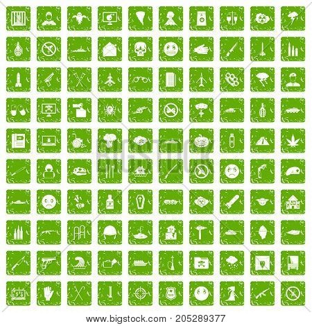 100 oppression icons set in grunge style green color isolated on white background vector illustration poster