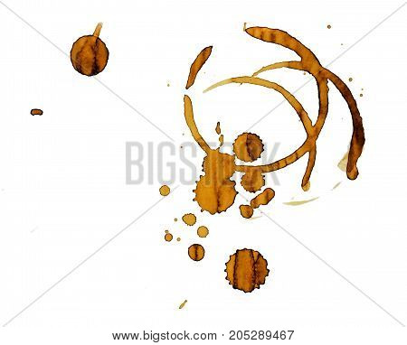 Coffee stains from cup isolated on white