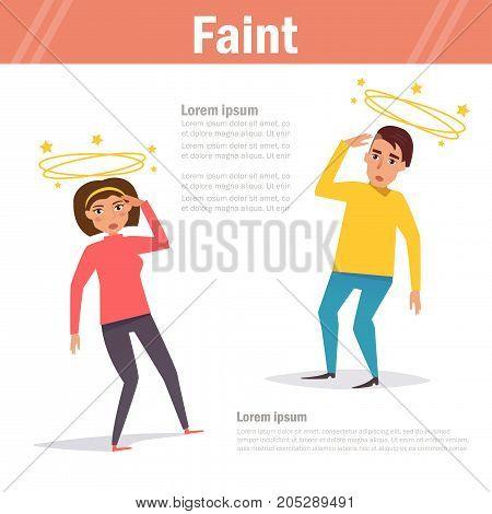 Faint. Vector. Cartoon. Isolated. Flat Illustration for websites brochures magazines Medicine
