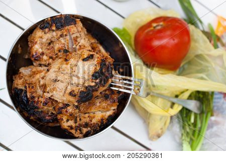 Barbeque Grilled Meat With Ripe Tomato