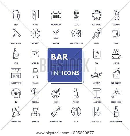 Line icons set. Bar pack. Vector illustration.