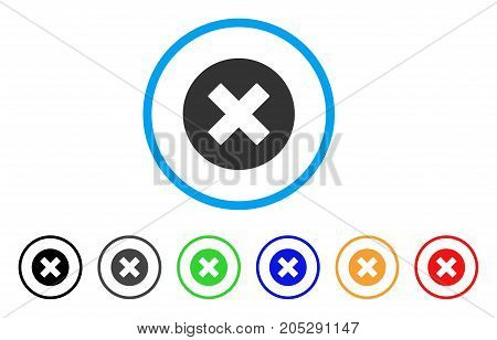 Cancel rounded icon. Style is a flat cancel gray symbol inside light blue circle with black, gray, green, blue, red, orange versions. Vector designed for web and software interfaces.
