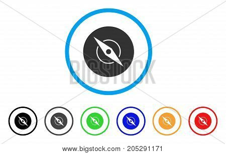 Compass rounded icon. Style is a flat compass grey symbol inside light blue circle with black, gray, green, blue, red, orange color versions. Vector designed for web and software interfaces.