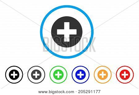 Create rounded icon. Style is a flat create gray symbol inside light blue circle with black, gray, green, blue, red, orange color versions. Vector designed for web and software interfaces.