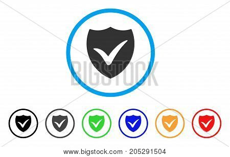 Shield Valid rounded icon. Style is a flat shield valid grey symbol inside light blue circle with black, gray, green, blue, red, orange variants. Vector designed for web and software interfaces.