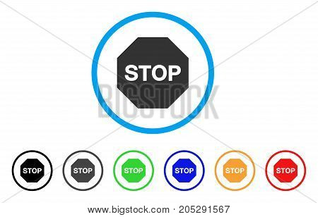 Stop Sign rounded icon. Style is a flat stop sign gray symbol inside light blue circle with black, gray, green, blue, red, orange variants. Vector designed for web and software interfaces.