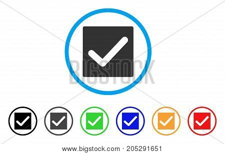 Valid Tick rounded icon. Style is a flat valid tick gray symbol inside light blue circle with black, gray, green, blue, red, orange color versions. Vector designed for web and software interfaces.