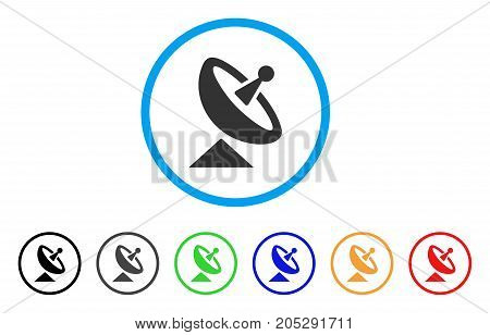 Antenna rounded icon. Style is a flat antenna grey symbol inside light blue circle with black, gray, green, blue, red, orange versions. Vector designed for web and software interfaces.