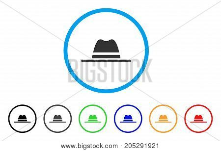 Hat rounded icon. Style is a flat hat grey symbol inside light blue circle with black, gray, green, blue, red, orange color versions. Vector designed for web and software interfaces.