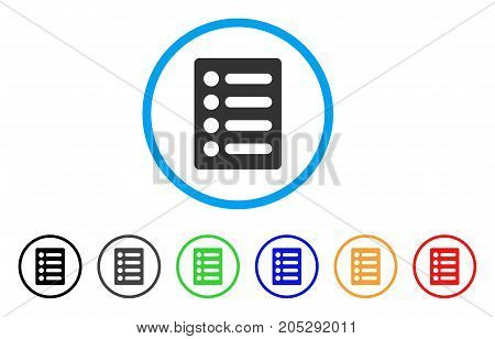 List rounded icon. Style is a flat list grey symbol inside light blue circle with black, gray, green, blue, red, orange versions. Vector designed for web and software interfaces.