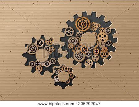 Vector illustration gearwheel . card board style.