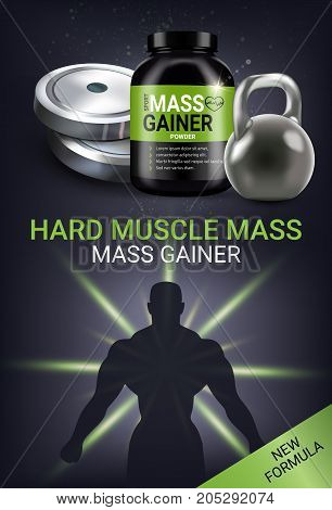 Mass gainer ads. Vector realistic illustration of cans with mass gainer powder. Vertical poster with product and sport equipment.