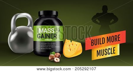 Mass gainer ads. Vector realistic illustration of cans with mass gainer powder with flavored nuts and cheese. Horizontal banner with product and sport equipment.