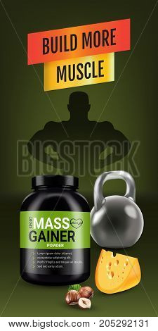 Mass gainer ads. Vector realistic illustration of cans with mass gainer powder with flavored nuts and cheese. Vertical banner with product and sport equipment.