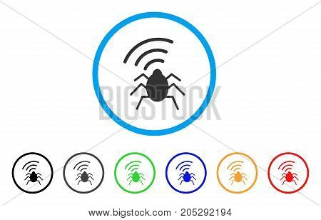 Radio Bug rounded icon. Style is a flat radio bug gray symbol inside light blue circle with black, gray, green, blue, red, orange variants. Vector designed for web and software interfaces.
