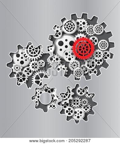 Vector illustration gearwheel . paper cut style.