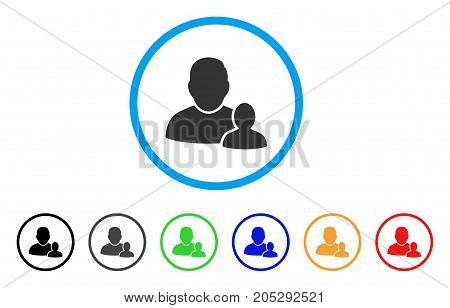 Child Parent rounded icon. Style is a flat child parent grey symbol inside light blue circle with black, gray, green, blue, red, orange versions. Vector designed for web and software interfaces.
