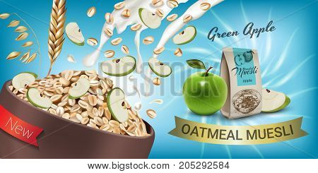 Oatmeal muesli ads. Vector realistic illustration of oatmeal muesli with green apple. Horizontal banner with product.
