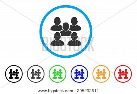 Friends Crowd rounded icon. Style is a flat friends crowd gray symbol inside light blue circle with black, gray, green, blue, red, orange variants. Vector designed for web and software interfaces.