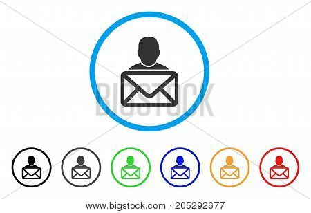 Mail Recipient rounded icon. Style is a flat mail recipient grey symbol inside light blue circle with black, gray, green, blue, red, orange versions. Vector designed for web and software interfaces.