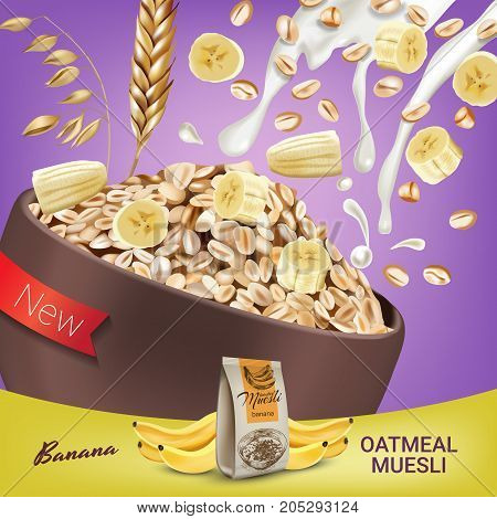 Oatmeal muesli ads. Vector realistic illustration of oatmeal muesli with banana. Poster with product.