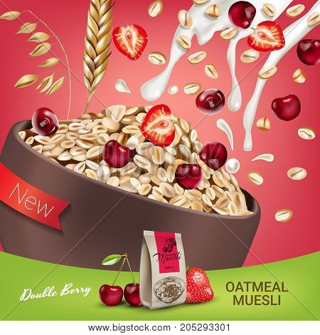 Oatmeal muesli ads. Vector realistic illustration of oatmeal muesli with double berry. Poster with product.