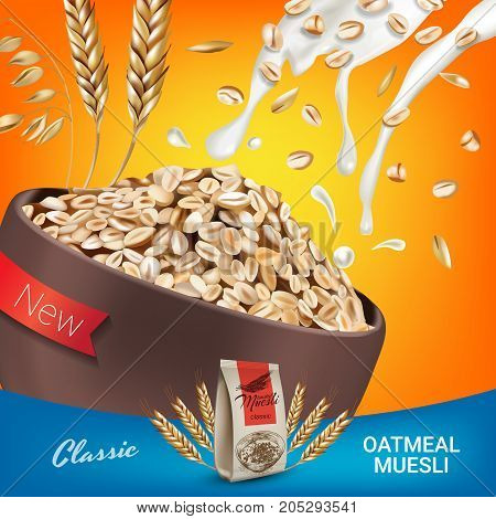 Oatmeal muesli ads. Vector realistic illustration of oatmeal muesli. Poster with product.