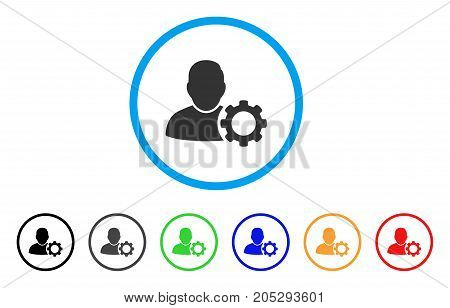 User Settings Gear rounded icon. Style is a flat user settings gear gray symbol inside light blue circle with black, gray, green, blue, red, orange versions.