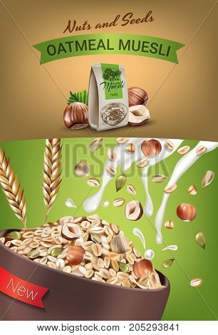 Oatmeal muesli ads. Vector realistic illustration of oatmeal muesli with nuts and seeds. Vertical poster with product.