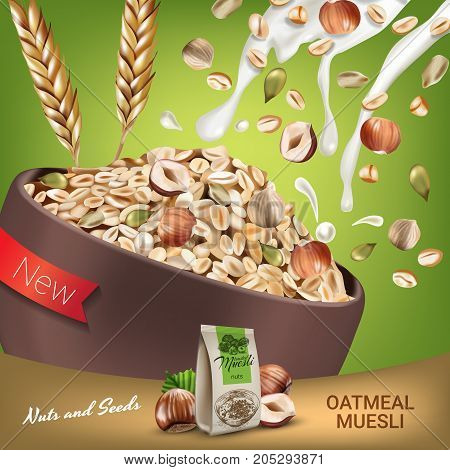Oatmeal muesli ads. Vector realistic illustration of oatmeal muesli with nuts and seeds. Poster with product.
