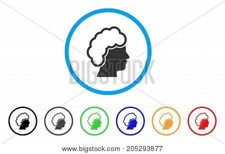 Blonde Profile rounded icon. Style is a flat blonde profile grey symbol inside light blue circle with black, gray, green, blue, red, orange versions. Vector designed for web and software interfaces.