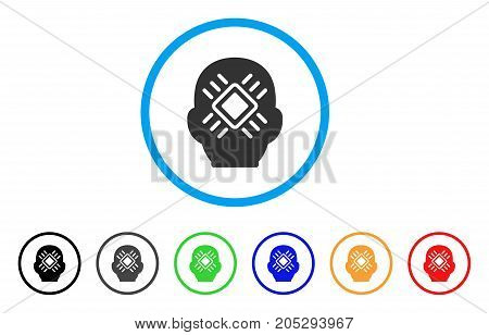 Cyborg Head rounded icon. Style is a flat cyborg head gray symbol inside light blue circle with black, gray, green, blue, red, orange versions. Vector designed for web and software interfaces.