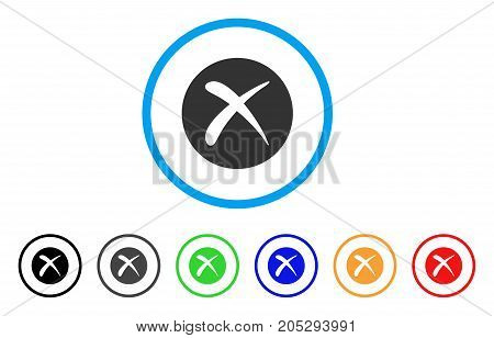 Delete rounded icon. Style is a flat delete grey symbol inside light blue circle with black, gray, green, blue, red, orange versions. Vector designed for web and software interfaces.