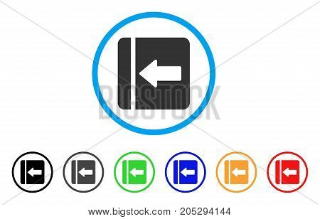 Hide Menu Left rounded icon. Style is a flat hide menu left grey symbol inside light blue circle with black, gray, green, blue, red, orange variants. Vector designed for web and software interfaces.