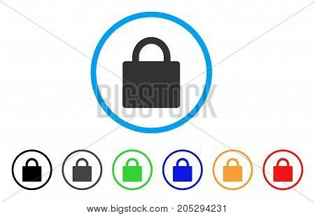 Lock rounded icon. Style is a flat lock gray symbol inside light blue circle with black, gray, green, blue, red, orange versions. Vector designed for web and software interfaces.
