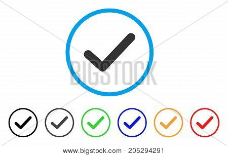 Ok Tick rounded icon. Style is a flat ok tick grey symbol inside light blue circle with black, gray, green, blue, red, orange color versions. Vector designed for web and software interfaces.